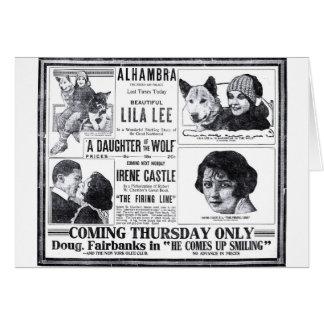 Cartão 1919 do anúncio do filme do vintage de Lila