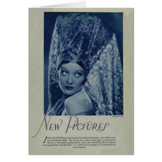 Cartão 1928 do retrato do vintage de Joana