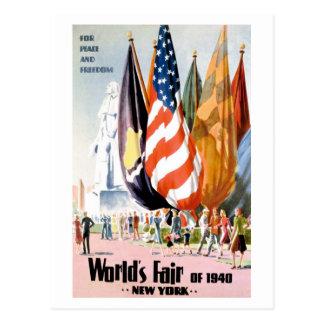 Cartão 1940 da feira de mundo de New York