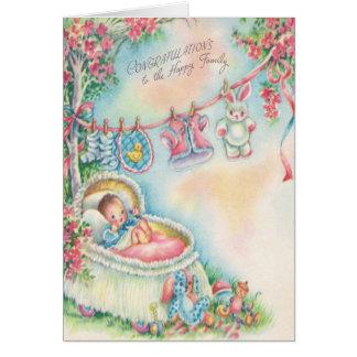 Cartão 1948 dos parabéns do bebê do vintage