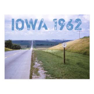 Cartão 1962 da viagem por estrada de Iowa