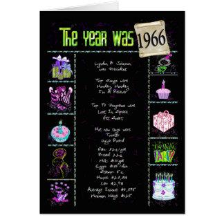 Cartão 1966 fatos de divertimento do aniversário