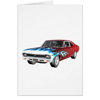 Cartão 1968 carros brancos e azuis vermelhos do músculo