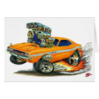 Cartão 1970-72 carro da laranja do desafiador de Dodge