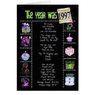 Cartão 1997 fatos de divertimento do aniversário