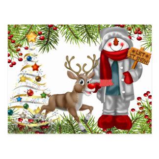 cartão 1 da cena da rena do boneco de neve do