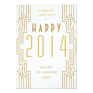 Cartão 2014 liso do feriado do art deco do feliz convite 12.7 x 17.78cm