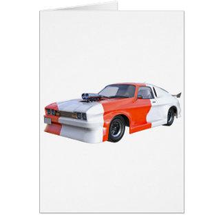 Cartão 2016 carro alaranjado e branco do músculo