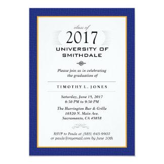 Cartão 2017 a festa de formatura formal azul & do ouro