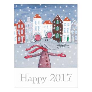 Cartão 2017 feliz do feliz ano novo do rato da