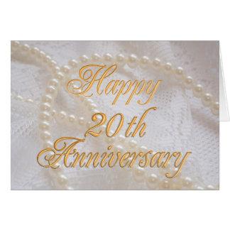 Cartão 20o aniversário de casamento com laço e pérolas
