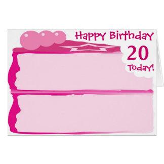 Cartão 20o aniversário feliz