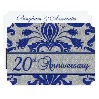 Cartão 20o Azul e prata do vintage do aniversário do
