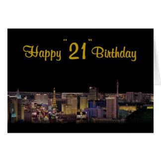 """Cartão """"21"""" feliz estilo de Las Vegas do aniversário!"""