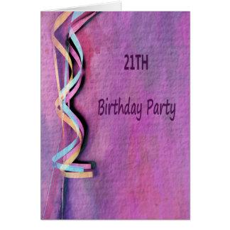 Cartão 21th festa de aniversário