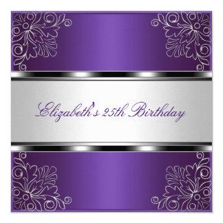 Cartão 25o evento floral de prata roxo da festa de