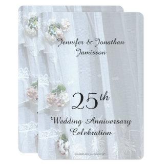 Cartão 25o Festa de aniversário do casamento, laço do