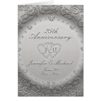 Cartão 25o Monograma do aniversário