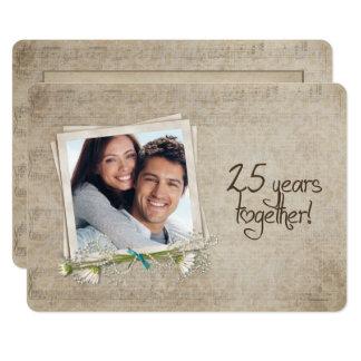 Cartão 25o Renovação do voto do aniversário de casamento