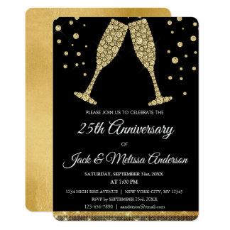 Cartão 25o Vidros de Champagne da festa de aniversário do
