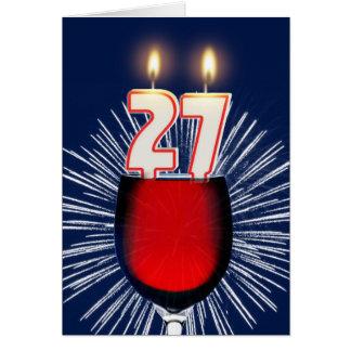 Cartão 27o Aniversário com vinho e velas