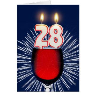 Cartão 28o Aniversário com vinho e velas