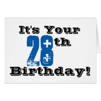 Cartão 28o cumprimento do aniversário em preto, azul,