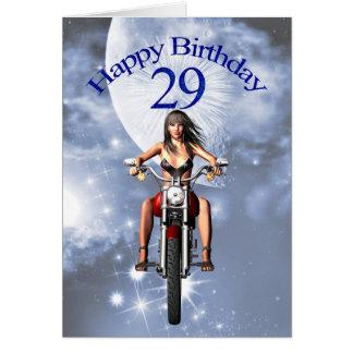 Cartão 29o aniversário com uma menina do motociclista