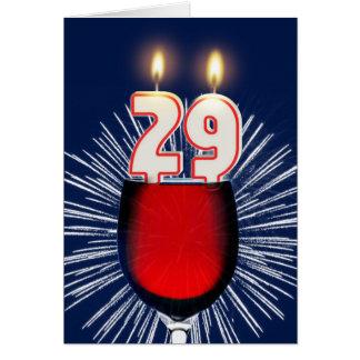 Cartão 29o Aniversário com vinho e velas