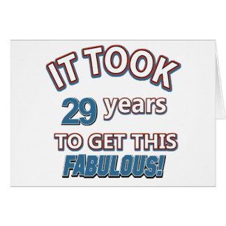 Cartão 29o design do aniversário do ano