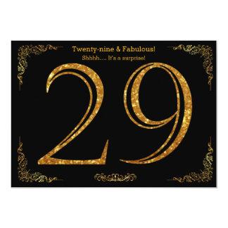 Cartão 29o Festa de aniversário, styl de Gatsby, brilho
