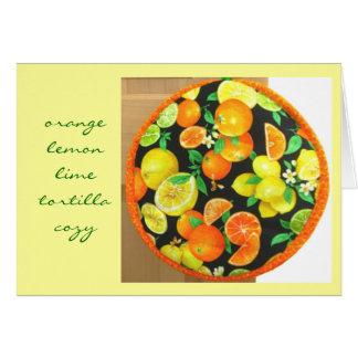 Cartão 2 acolhedor da tortilha alaranjada do limão