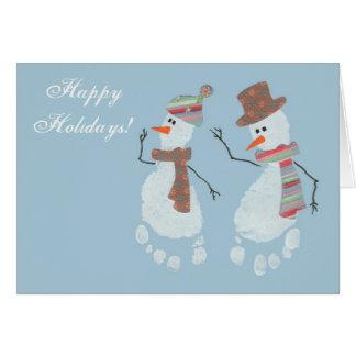 Cartão 2 bonecos de neve da pegada do bebê - boas festas!