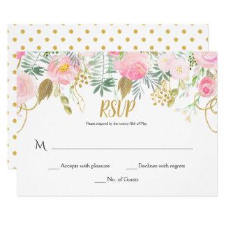 Cartão #2 coram rosa e flores RSVP da aguarela do ouro