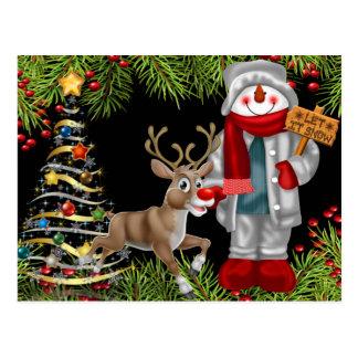 cartão 2 da cena da rena do boneco de neve do