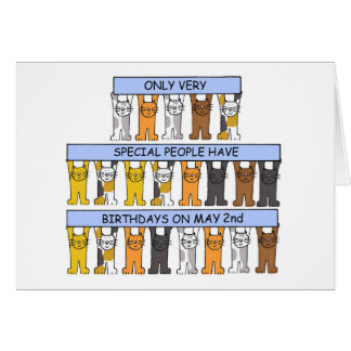 Cartão 2 de maio gatos do aniversário