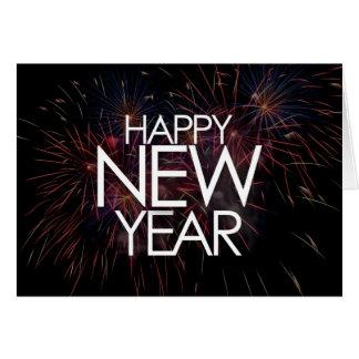 Cartão 2 dos fogos-de-artifício do feliz ano novo