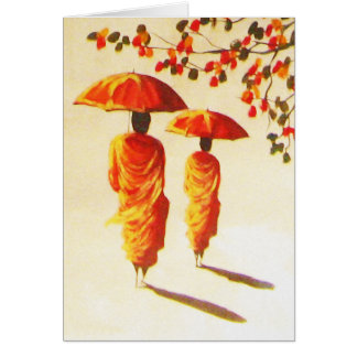 Cartão 2 monges budistas Laotian