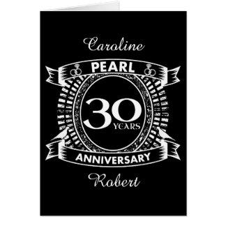 Cartão 30a crista da pérola do aniversário de casamento