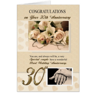 Cartão 30o Aniversário de casamento da pérola