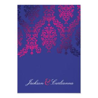 Cartão 311 azuis marinhos galhardos & magenta do damasco