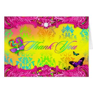 Cartão 311 obrigado do doce 16 do rosa do país das