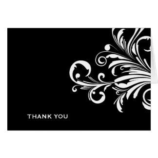 Cartão 311-Swanky roda obrigado branco preto de N você