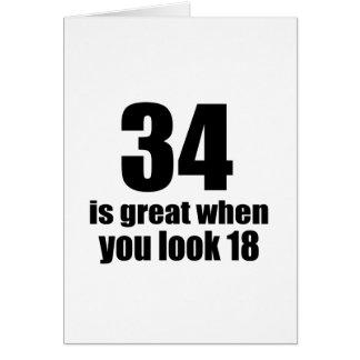 Cartão 34 é grande quando você olha o aniversário