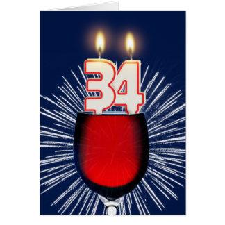 Cartão 34o Aniversário com vinho e velas