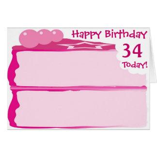 Cartão 34o aniversário feliz