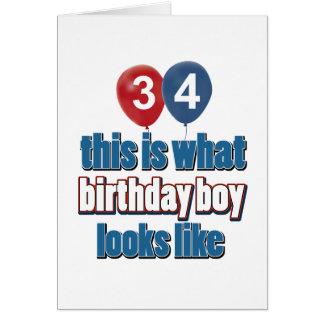 Cartão 34o design do aniversário dos anos de idade