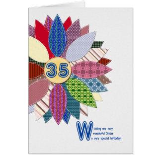 Cartão 35o aniversário para a irmã, flor costurada
