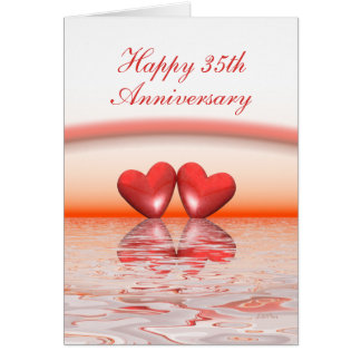 Cartão 35o Corações do coral do aniversário