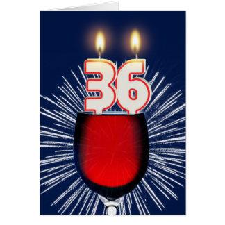 Cartão 36th Aniversário com vinho e velas
